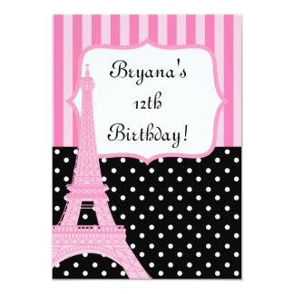 Paris Eiffel tornfransk pricker rosa inbjudan