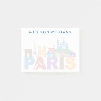 Paris färgrik typografi för frankriken   post-it block