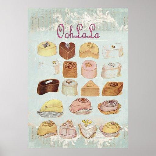 Paris för choklad för Oohlala frestelsevintage mod Affischer