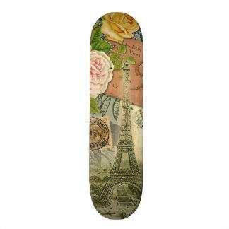 Paris för det vintageEiffel torn frankriken reser Old School Skateboard Bräda 21,6 Cm