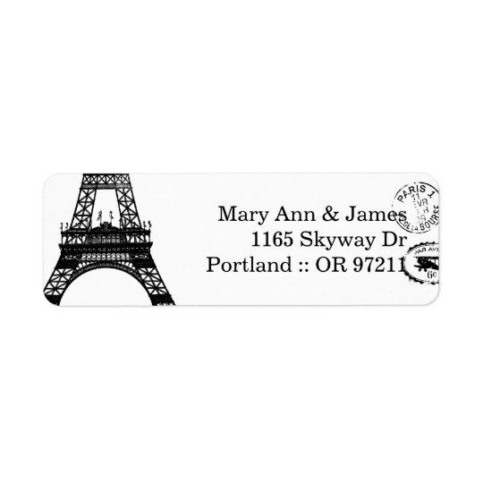 Paris för elegant bröllopadressvintage vykort returadress etikett