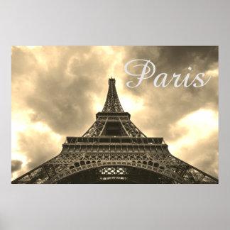 Paris för vintageSepiaEiffel torn romantisk kärlek Poster