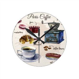 Paris kaffe medium rund klocka