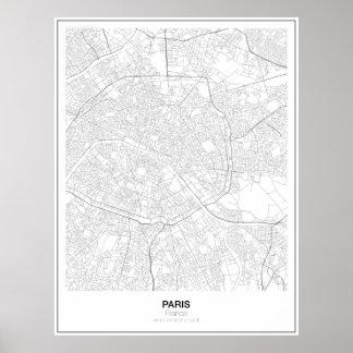 Paris Minimalist kartaaffisch för frankriken (stil Poster