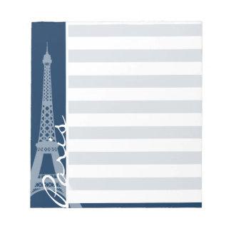 Paris; Mörka midnatta blåttvågrätrandar Anteckningsblock