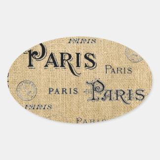Paris på Burlap Ovalt Klistermärke