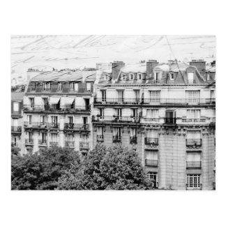Paris Rooftops i svartvitt Vykort