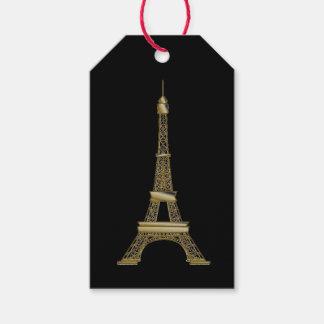Paris svart & guld- för Eiffel torngåva märkre Presentetikett