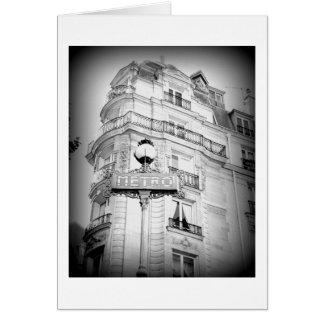 Paris svartvitt som är tom OBS kort