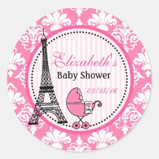 Paris temapartyklistermärkear för baby shower runt klistermärke