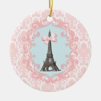 Paris vintage rund julgransprydnad i keramik