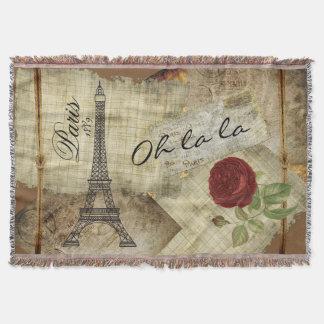 Paris vintagestil - röd ros mysfilt