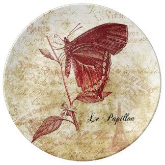 Parisenne Le Papillon et konst för LaFleur vintage Porslinstallrik