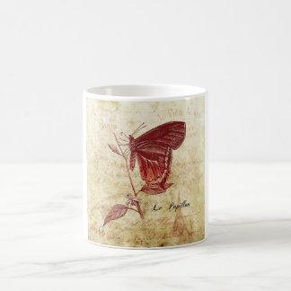 Parisenne Le Papillon et konst för LaFleur vintage Vit Mugg