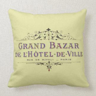 Parisian annonsering för hotellvintagefransk kudde