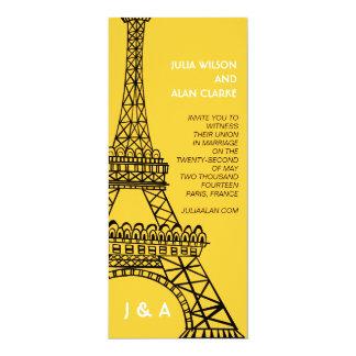 Parisian Eiffel för bröllopinbjudangult torn 10,2 X 23,5 Cm Inbjudningskort
