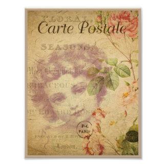 Parisian flicka för vintage i beige fototryck