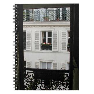 Parisian fönsteranteckningsbok anteckningsbok med spiral