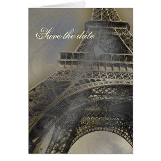 Parisian fransk bröllop spara datum hälsningskort