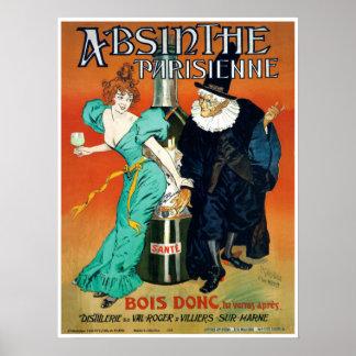 Parisian fransk för AbsintheParisienne victorian Poster