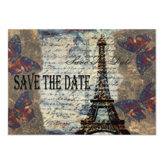 Parisian spara för vintage datera inbjudningskort