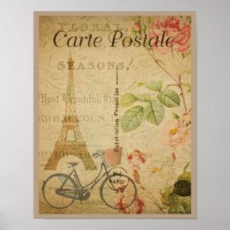 Parisian vintage med det Eiffel torn Poster