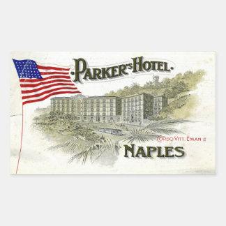 Parker hotell (den Naples italien) Rektangulärt Klistermärke