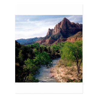 Parkera den jungfruliga floden watchmanen Zion Vykort