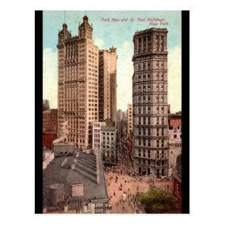 Parkera ror, vintage för St Paul byggnader NYC Vykort