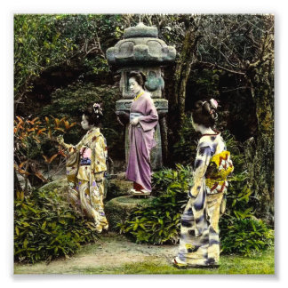 Parkerar besöka för Geisha för vintage japanskt i Fototryck
