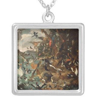 Parlamentet av fåglar silverpläterat halsband