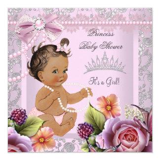 Pärlan för rosor för flickan för vintagebaby fyrkantigt 13,3 cm inbjudningskort