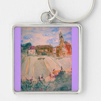 parma italienakvarell fyrkantig silverfärgad nyckelring