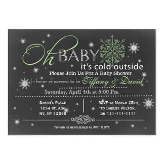 Pars för vintersnö unisex- inbjudan för baby