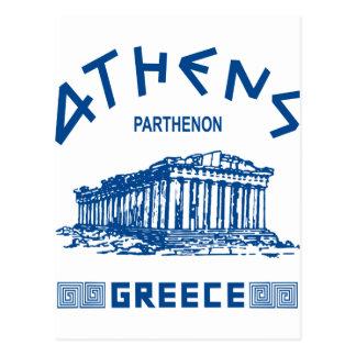 Parthenon - Athens - grek (blått) Vykort