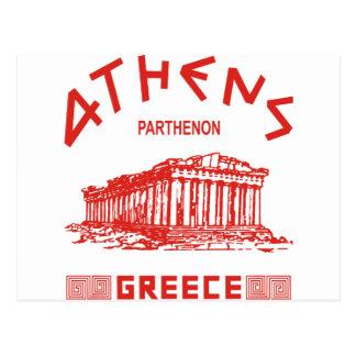 Parthenon - Athens - (röd) grek, Vykort