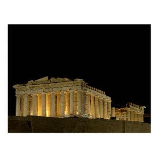 Parthenon vid nattvykortet vykort