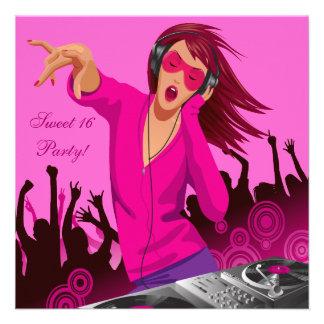 Party 16 för DJ för rosa dam sött Personliga Inbjudningskort