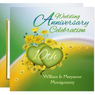 Party för årsdag för gula blommorhjärtor 10th fyrkantigt 13,3 cm inbjudningskort
