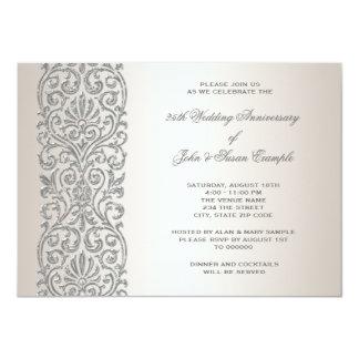 Party för årsdag för pärlemorfärg silvergräns 25th 11,4 x 15,9 cm inbjudningskort