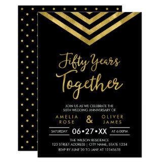 Party för årsdag för sparre 50th för modern Faux 12,7 X 17,8 Cm Inbjudningskort