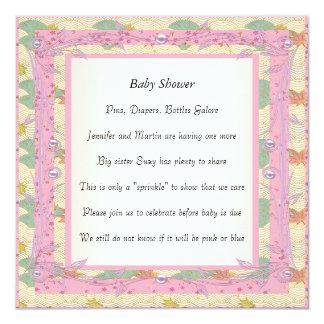 Party för baby shower för rosaram purpurfärgat fyrkantigt 13,3 cm inbjudningskort