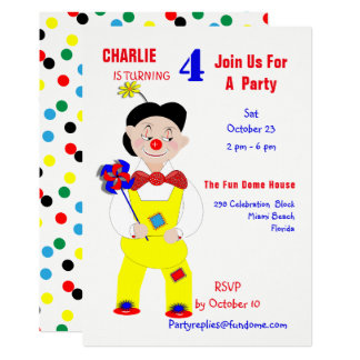 Party för barns födelsedag för cirkusclown 12,7 x 17,8 cm inbjudningskort