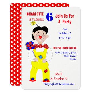 Party för barns födelsedag för cirkusclowner 12,7 x 17,8 cm inbjudningskort