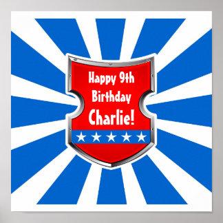 Party för barns födelsedag för Ninja patriotiskt Poster