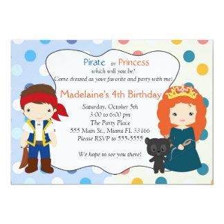 Party för barns födelsedag för piratPrincess 12,7 X 17,8 Cm Inbjudningskort