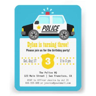 Party för barns födelsedag för sirenpolisbil personliga inbjudningskort