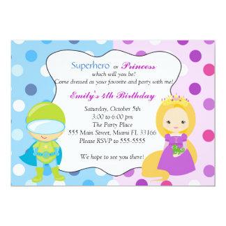 Party för barns födelsedag för SuperheroPrincess 12,7 X 17,8 Cm Inbjudningskort