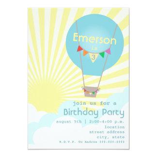 Party för blåttluftballongbarns födelsedag 12,7 x 17,8 cm inbjudningskort