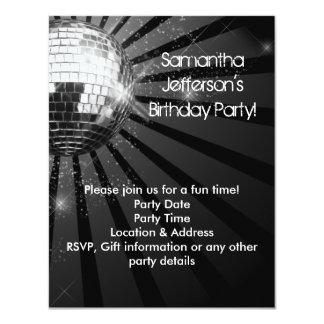 Party för boll för silvergnistradisko 10,8 x 14 cm inbjudningskort